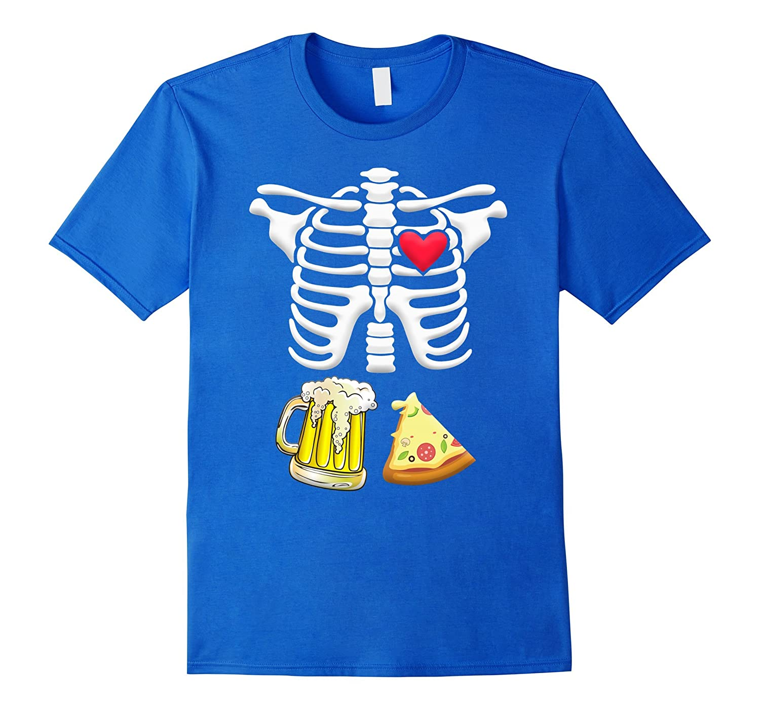 Beer and pizza Pregnant Skeleton Halloween Shirt-Awarplus