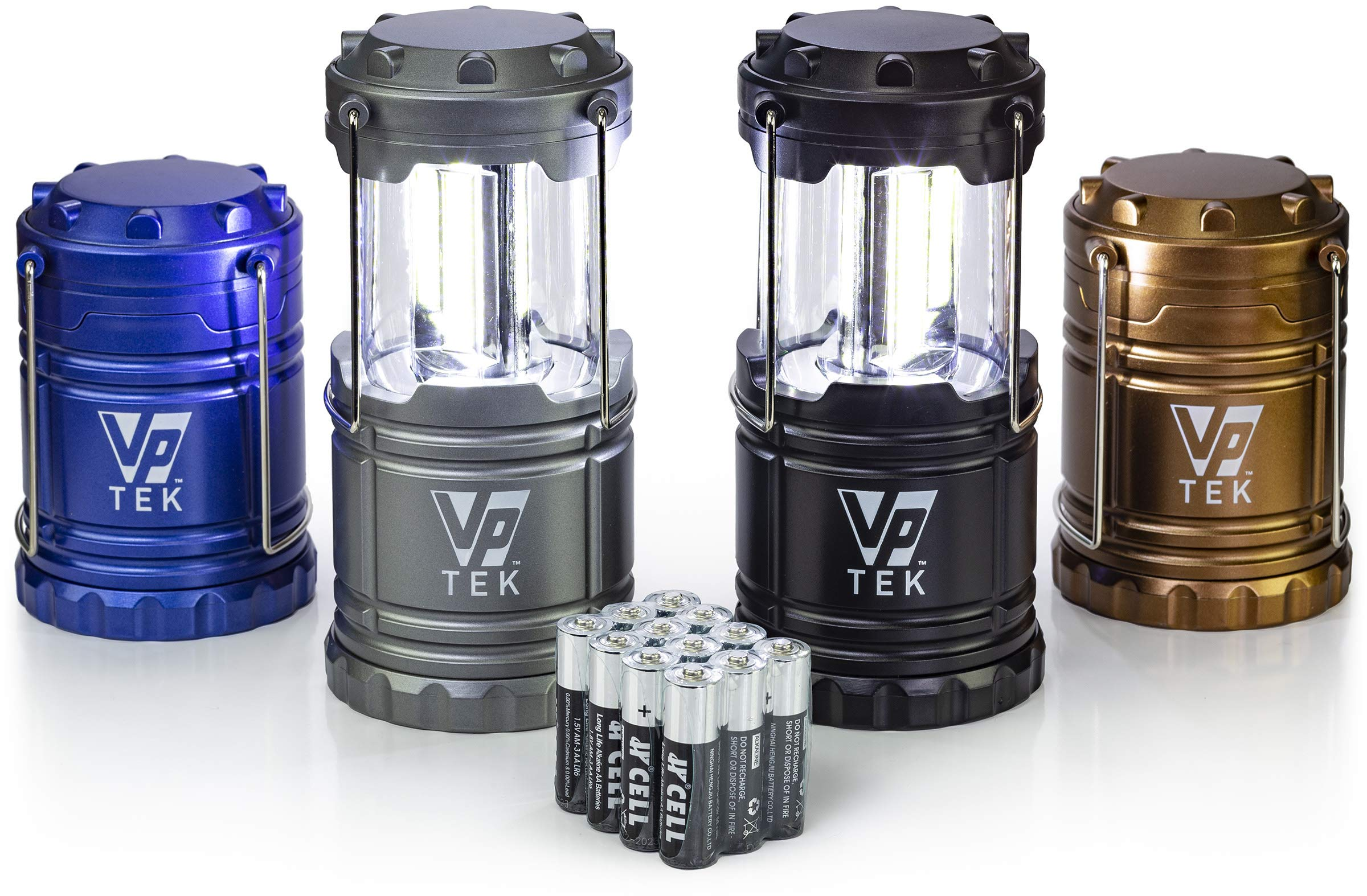VP TEK Collapsible LED Lantern with Ultra Bright 300 Lumens COB Technology (4 Pack) (Black, Metallic Copper, Cobalt Blue & Metallic Silver) by VP TEK