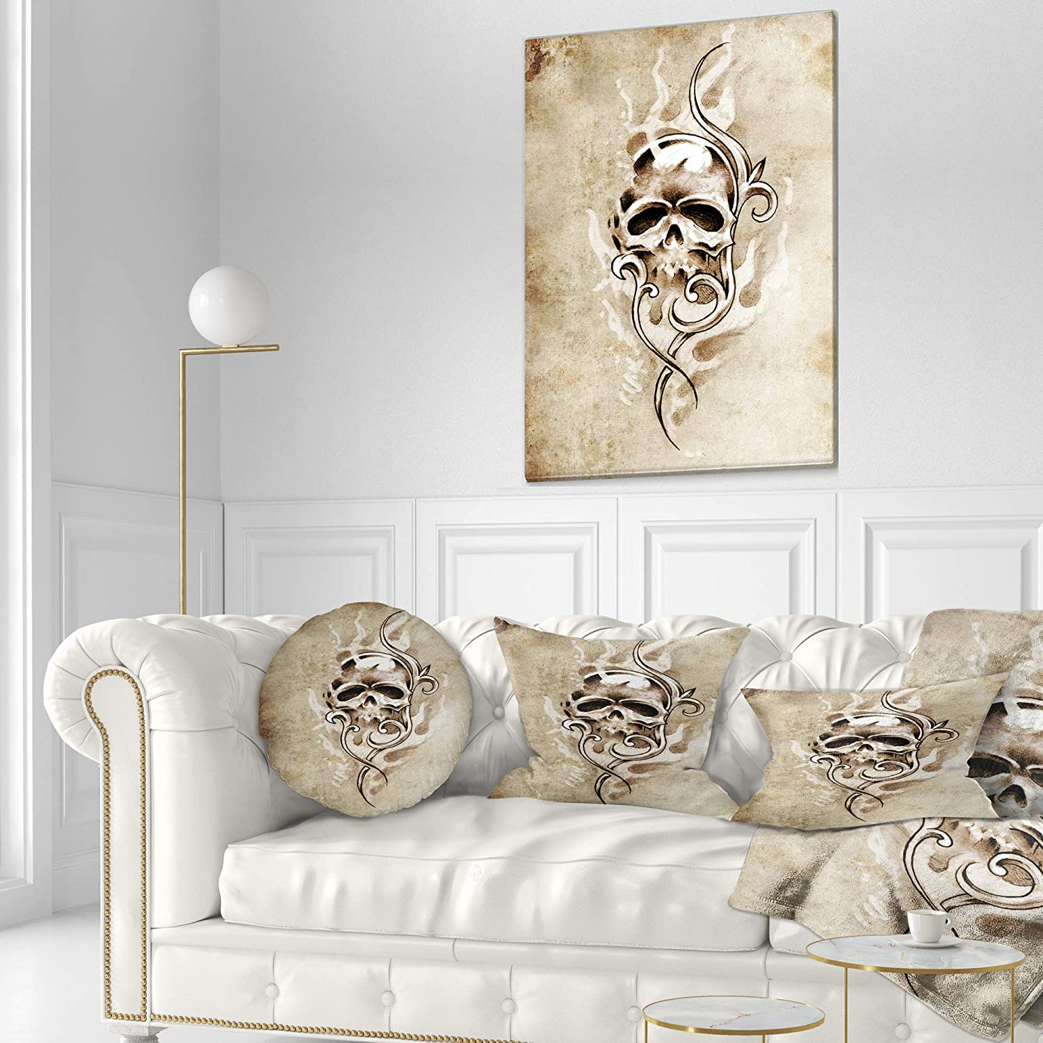 Sofa Throw Pillow 20 Designart CU7901-20-20-C Vintage Style Skull Devil Tattoo Abstract Round Cushion Cover for Living Room