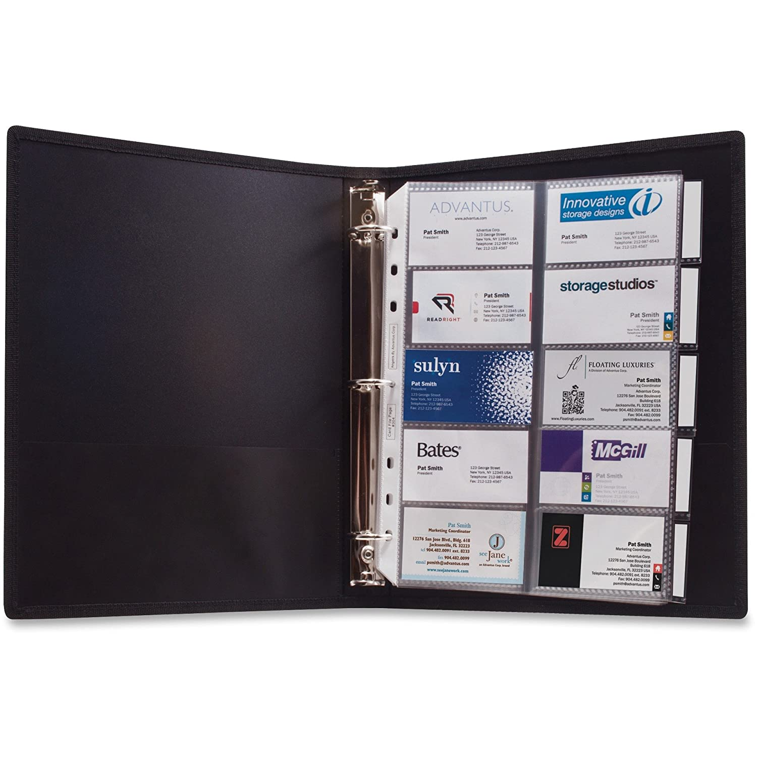 Amazon anglers 303 3 ring business card binder 100 card cap 8 amazon anglers 303 3 ring business card binder 100 card cap 8 12x11 black office products colourmoves