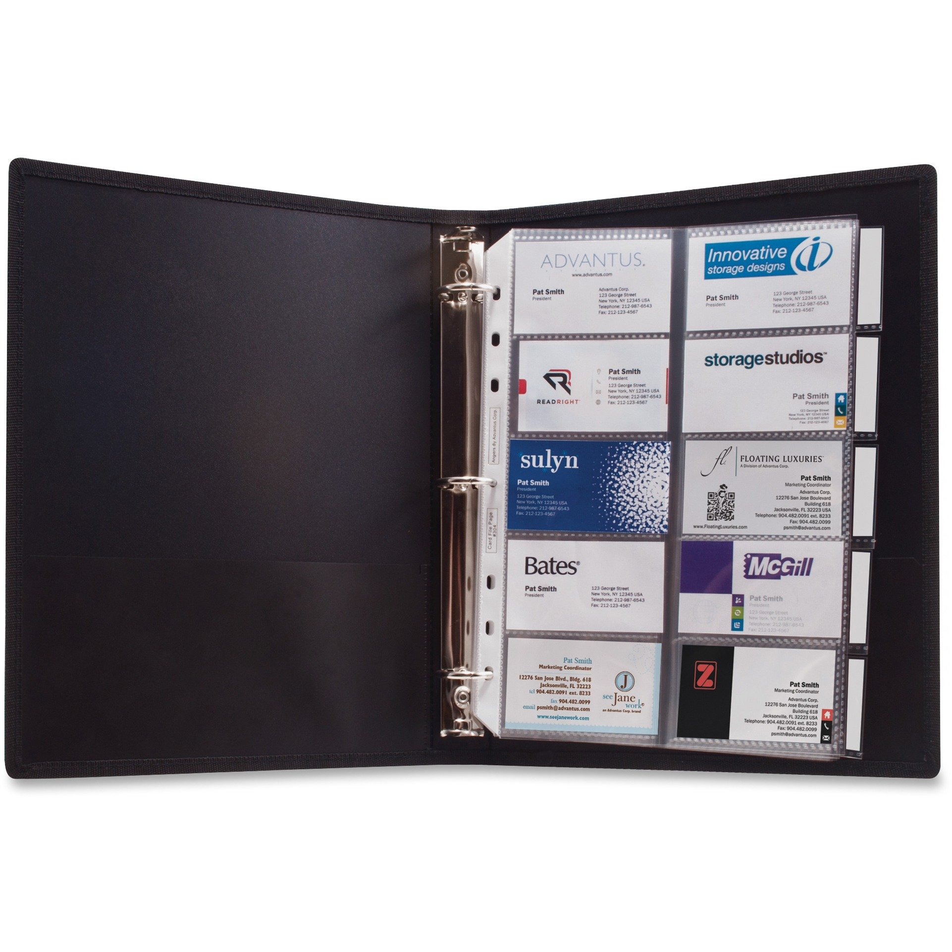 Anglers 303 3-Ring Business Card Binder 100 Card Cap 8-1/2''x11'' Black