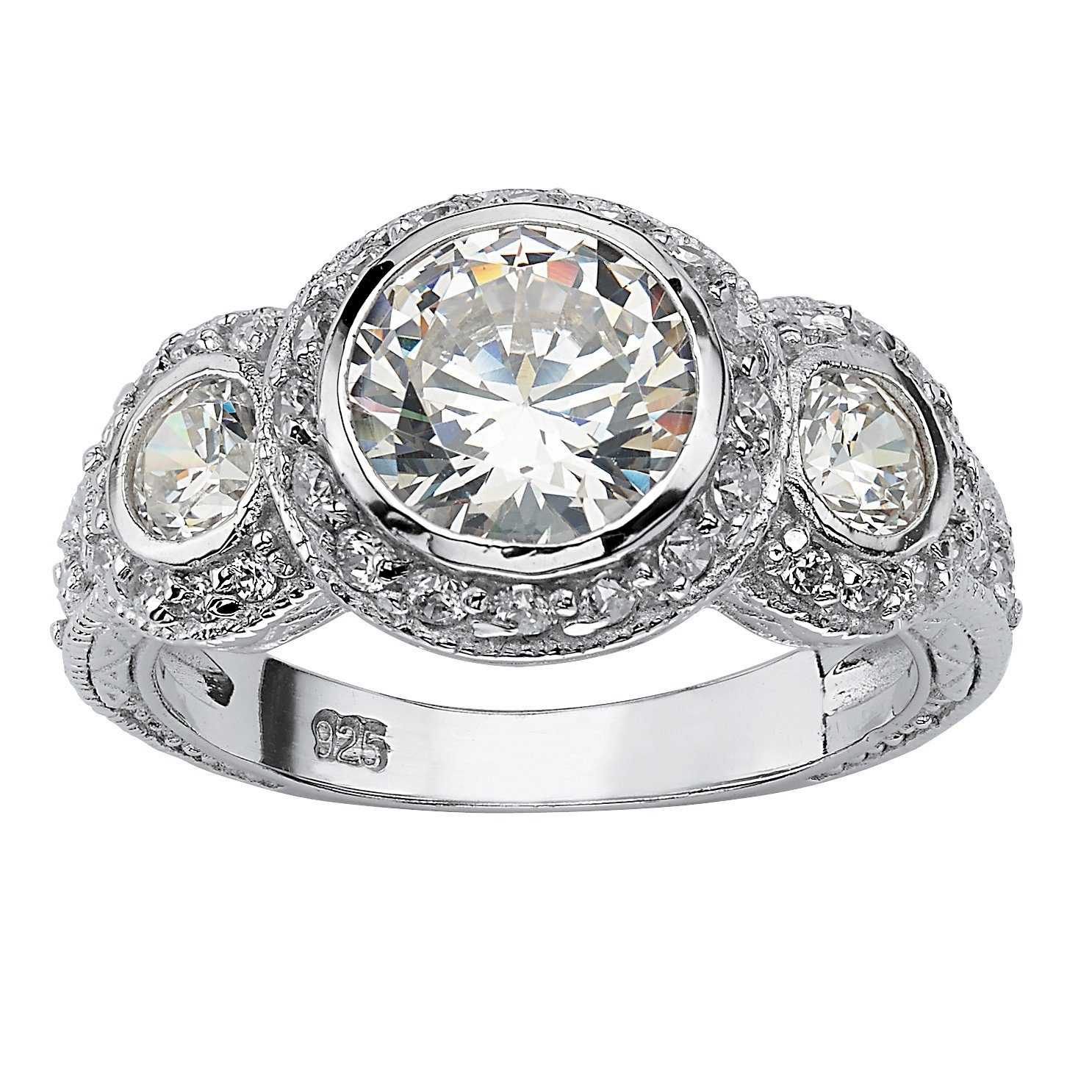 Sterling Silver Round Cubic Zirconia Bezel Set Vintage Style 3-Stone Bridal Ring Size 7