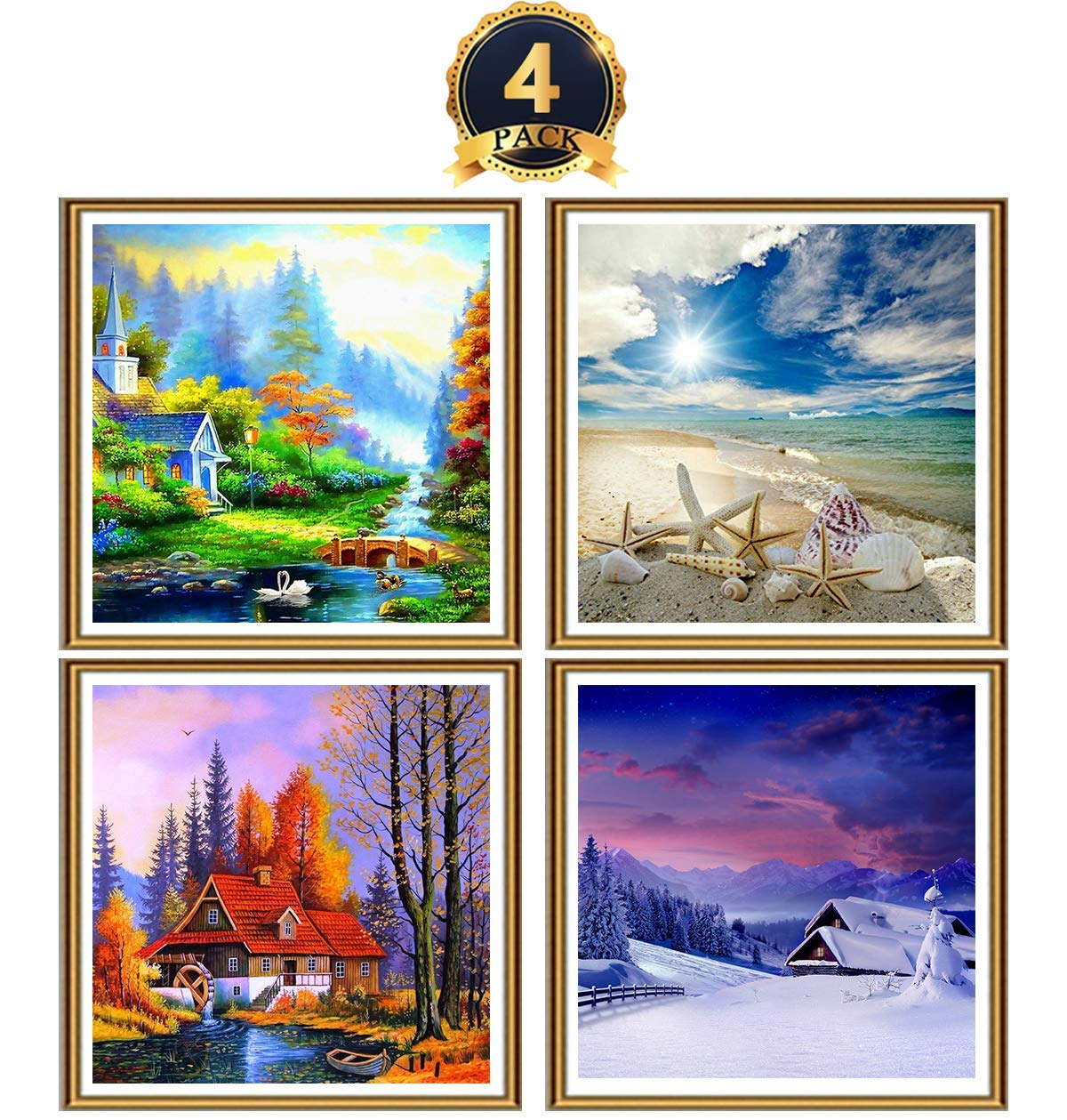 Ginfonr Spring Summer Autumn and Winter Landscape Paint with Diamonds Art Craft Decor M-Aimee 4 Pack 5D DIY Diamond Painting Four Season Scenery Kit Full Drill by Number Kits for Adults 12 x 12 inch