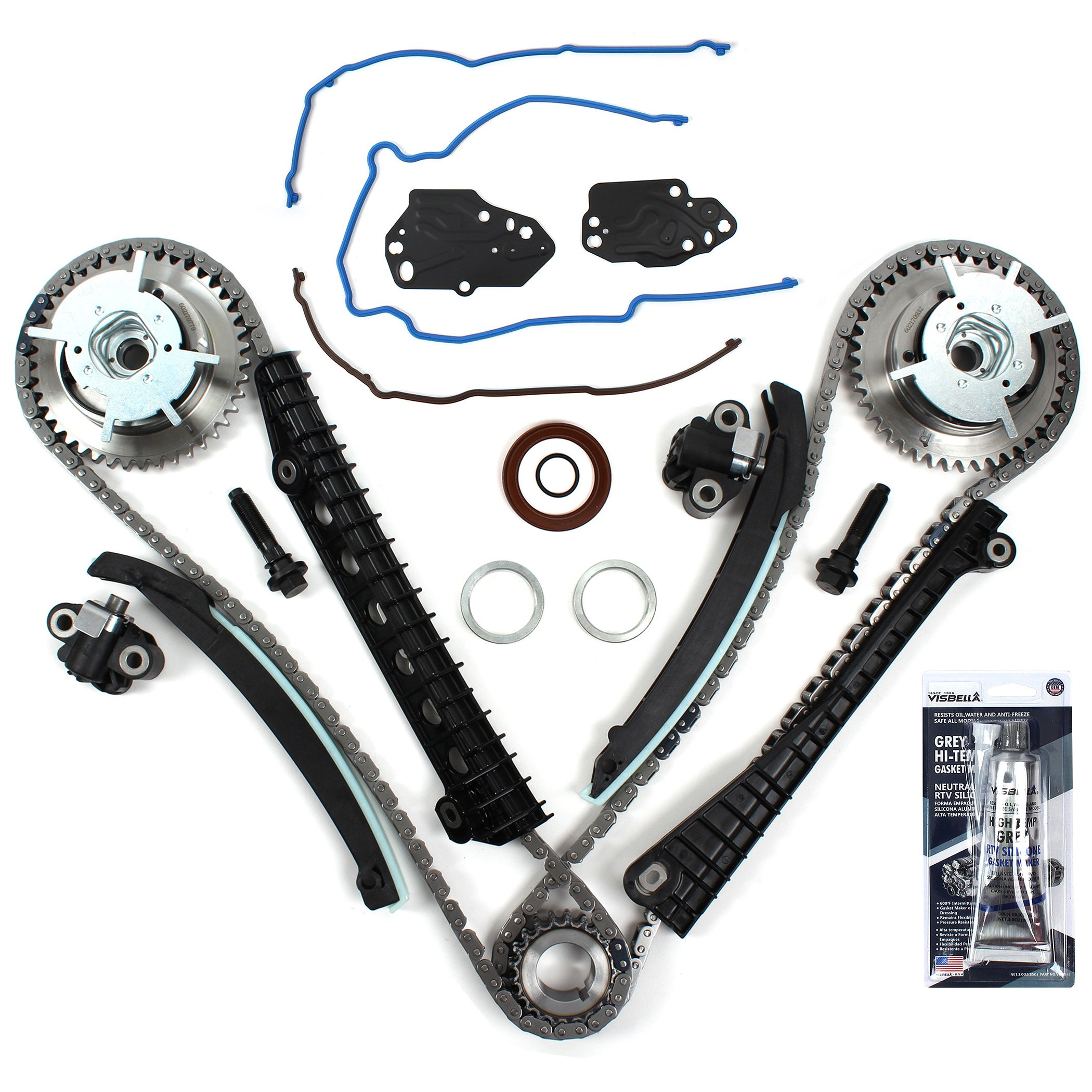 New ETCK460GSI Timing Chain Kit, Timing Cover Seals, Cam Phasers w/Mounting Bolts, RTV Gasket Maker for 2004-08 Ford 5.4L (3-Valve) Engine Expedition F-150 F-250 Super F-350 Super / Lincoln by CNS EngineParts