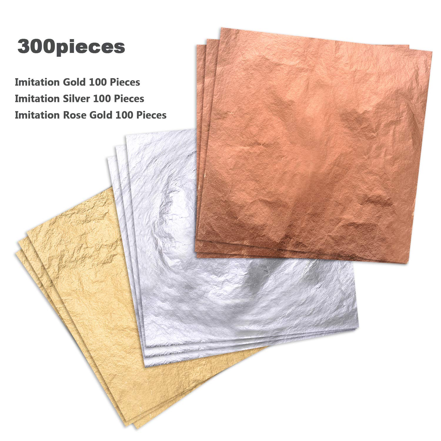 Gold KINNO 300 Pieces of 3 Mixed Color Gold Leaf for Resin- Red Copper Aluminum Foil Leaf Papers for Painting Arts 14cm Statues Gilding Decoration Brush is Included Furniture 5.5
