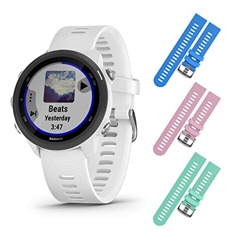 Garmin Forerunner 245 GPS Running Smartwatch with Included Wearable4U 3 Straps Bundle (White Music 010-02120-21, Blue/Pink/Teal)