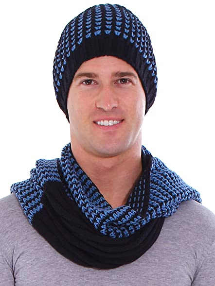 Simplicity Mens Two Toned Ribbed Stripe Knit Hat And Scarf Set
