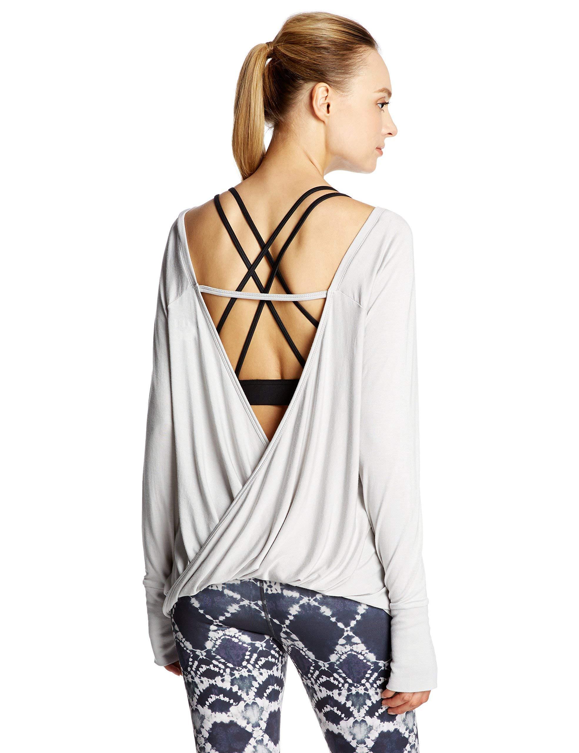 7Goals Women's Open-Back Loose-Fit Long-Sleeve Workout Sweatshirt, Oyster, S