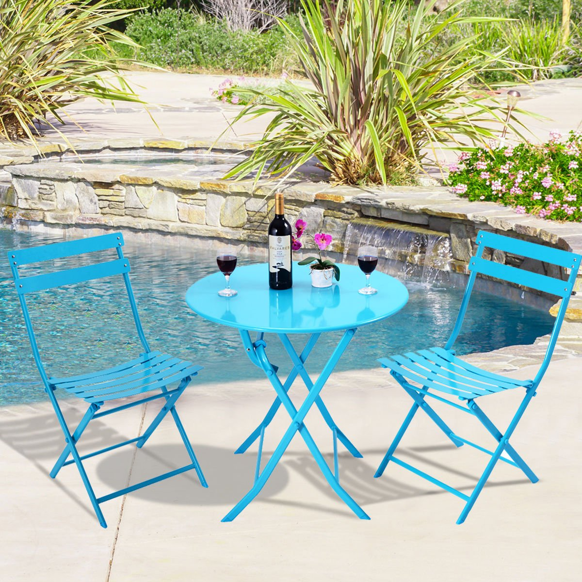 3 Pcs. Blue Table Chair Set Foldable Outdoor Patio Garden Pool Metal Furniture by Allblessings (Image #2)