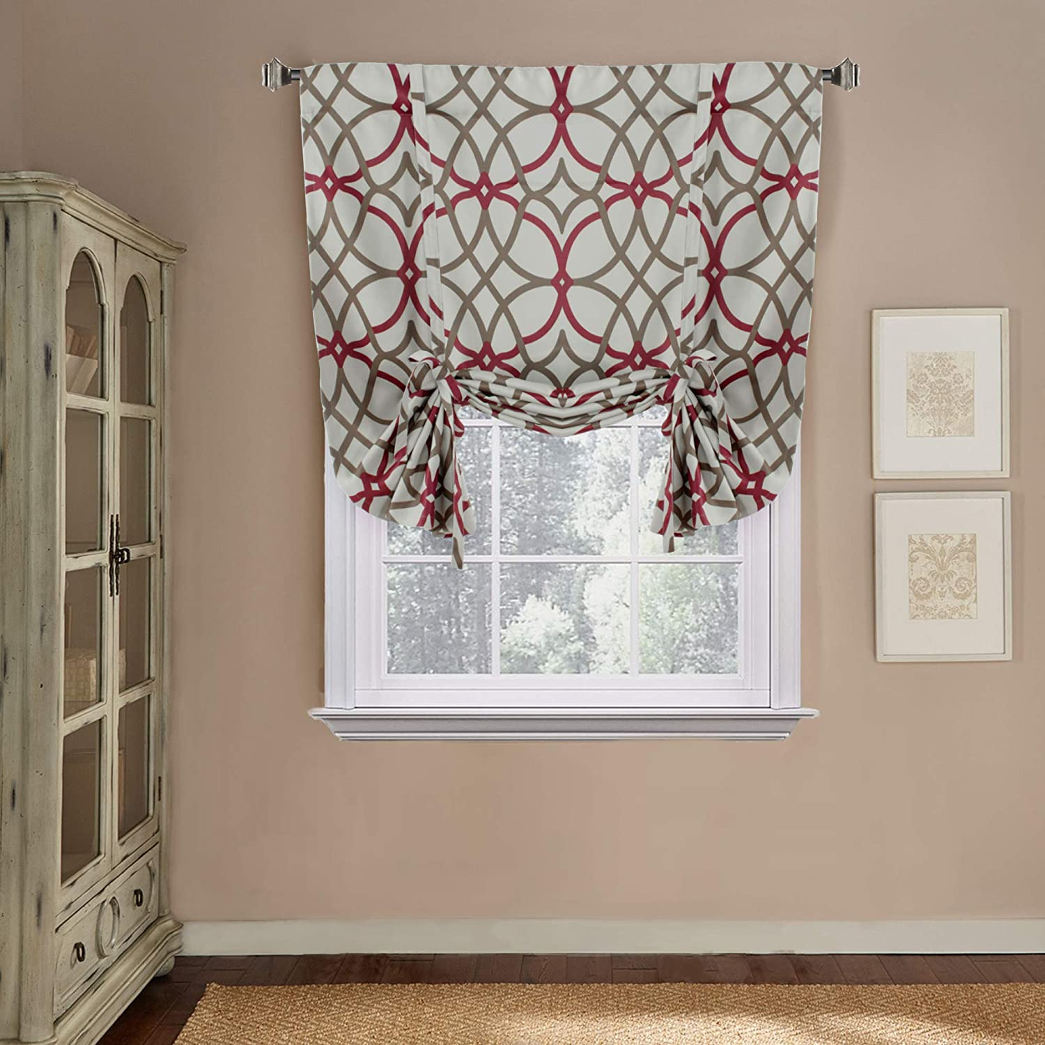 """H.VERSAILTEX Thermal Insulated Blackout Adjustable Tie Up Shade Rod Pocket Curtain for Small Window-42 Wide by 63"""" Long-Taupe and Red Geo Pattern(1 Panel)"""