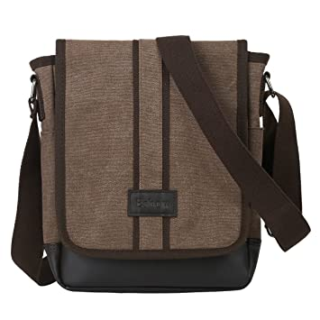 Amazon.com   Eshow Men Messenger Bag Sling Bag Shoulder Bag Cross Body Satchel  Bag Day Bag Purse For IPAD Business Travel Small for Men Brown   Messenger  ... 97f3b5ba4c