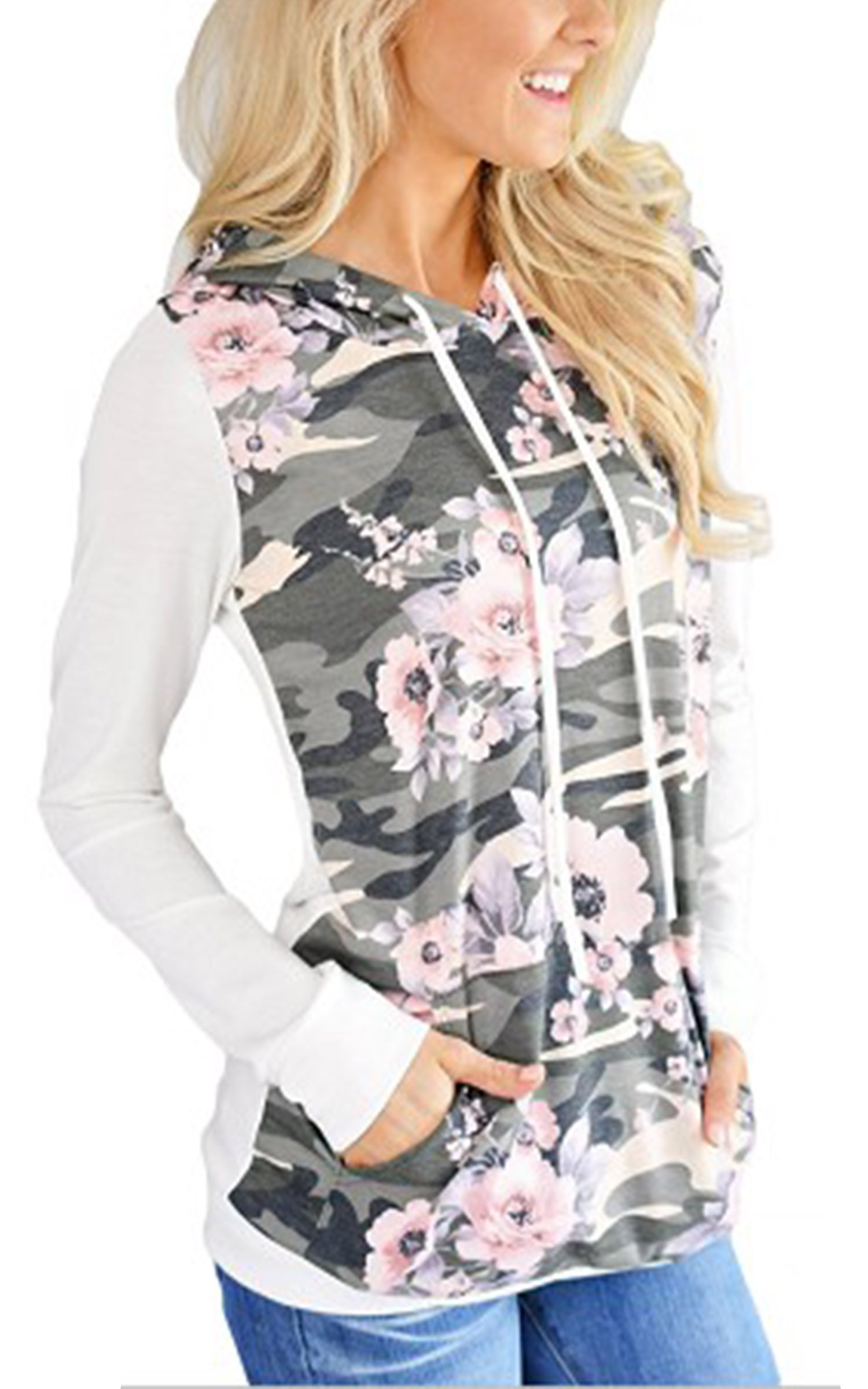 Angashion Women's Floral Printed Long Sleeve Pullover Hoodies Sweatshirt with Pocket White XL