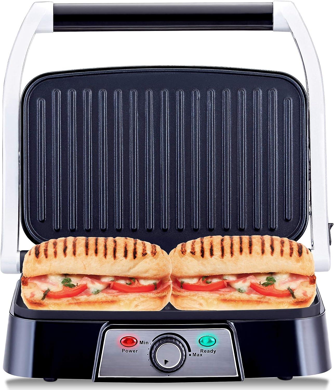 Netta Panini Maker Health Grill Sandwich Toaster Panini Press 2 Slice Non Stick Grill Plates 1500w Stainless Steel Amazon Co Uk Kitchen Home