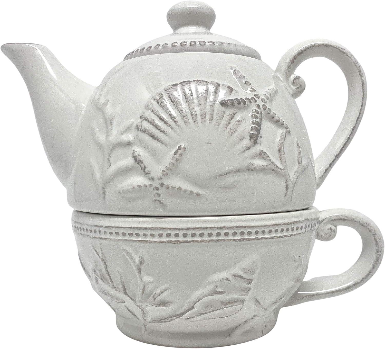 Coastal Farmhouse Teapot for One Set in Off White Ceramic, 20 fluid ounces