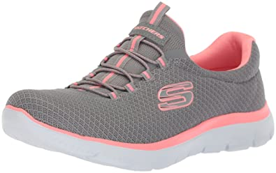 grey and pink sketchers