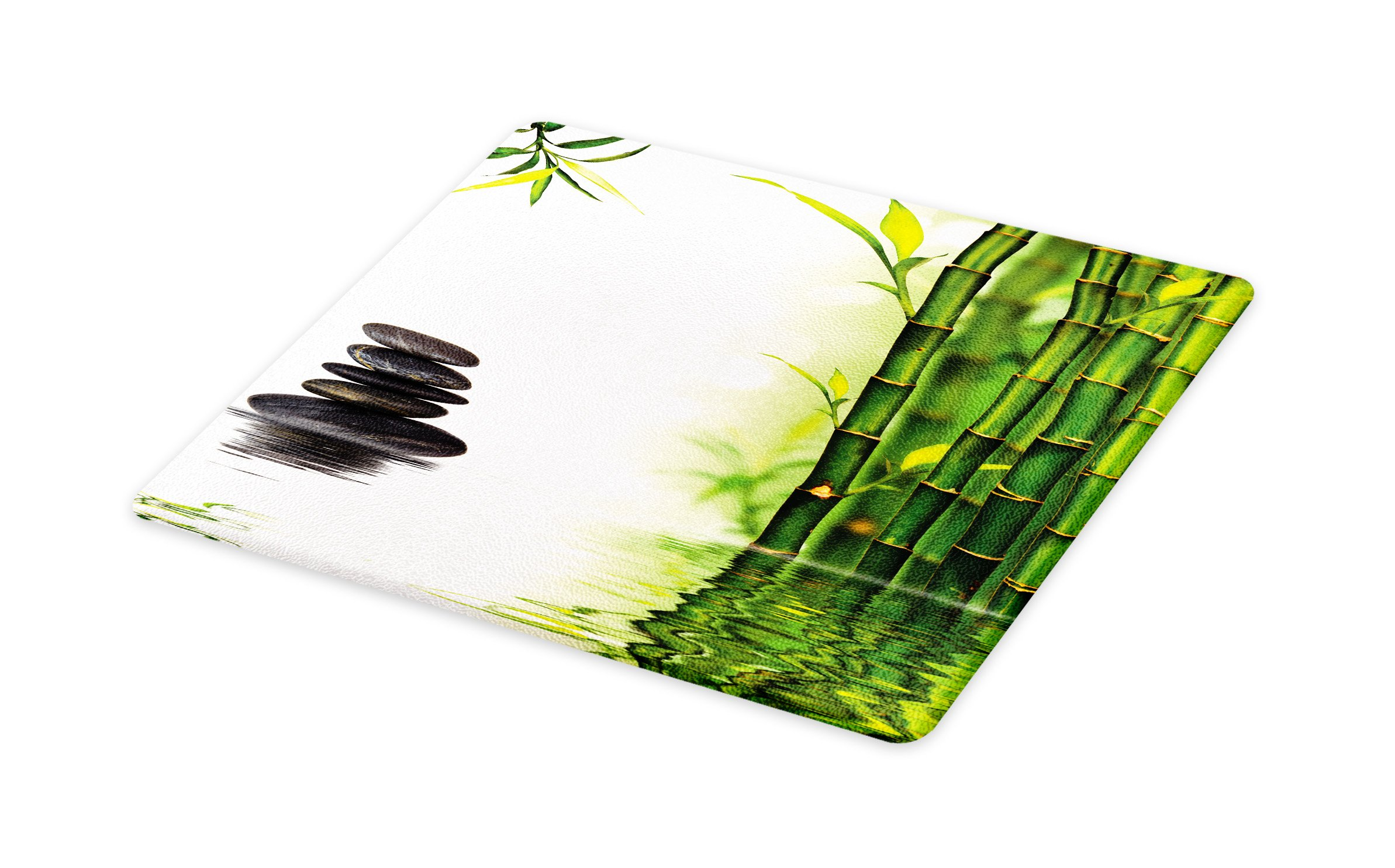 Lunarable Spa Cutting Board, Bamboos Reflecting to The Water Near The Hot Black Massage Stones Print, Decorative Tempered Glass Cutting and Serving Board, Large Size, Black Green and White