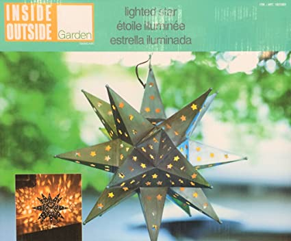 Outdoor Lighted Star Amazon inside outside garden led decorative lighted star with inside outside garden led decorative lighted star with chain antiqued weather resistant workwithnaturefo