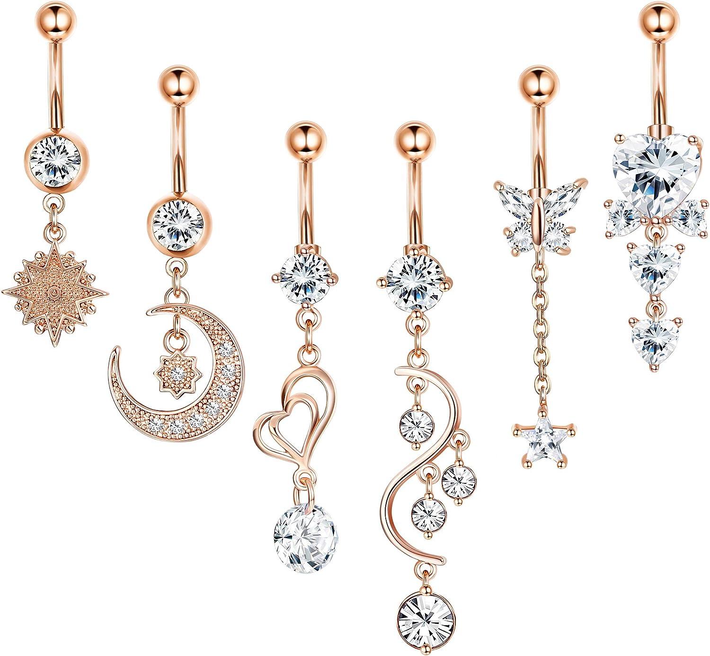 "14g 5//8"" Dangle Rose Charm Nipple Ring Price Per 1"