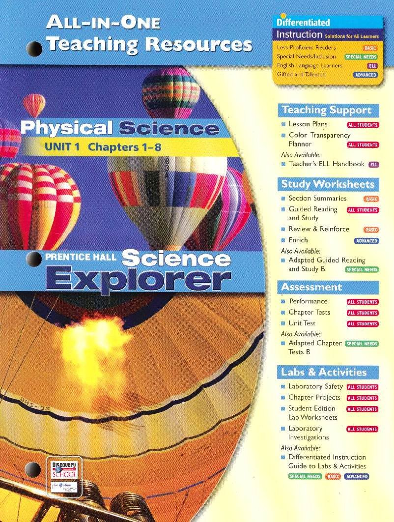 All-in-one Teaching Resources: Physical Science Unit 1 (Science Explorers,  Chapters 1-8): 9780131903296: Amazon.com: Books