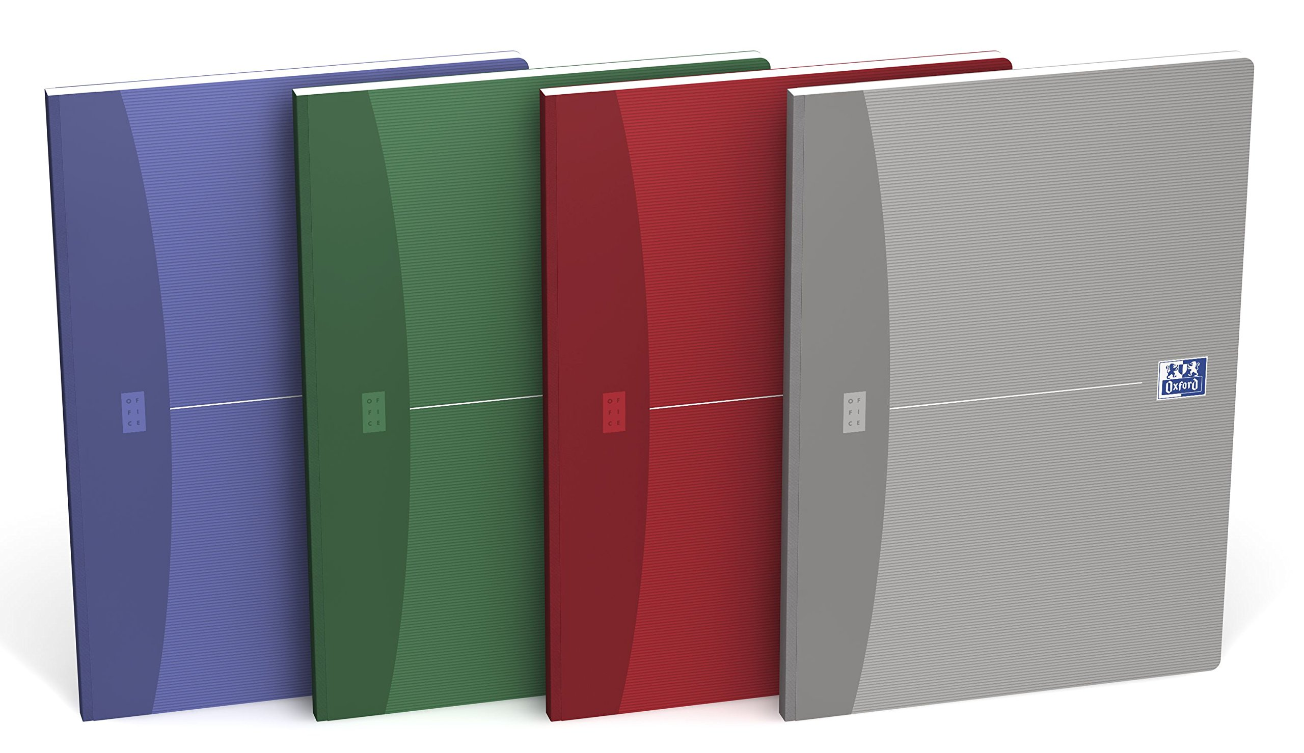 Oxford 100100923 Broschiertes Book Essentials Pack of 4 Different Coloured A4 Squared 96 Sheets Soft Cover
