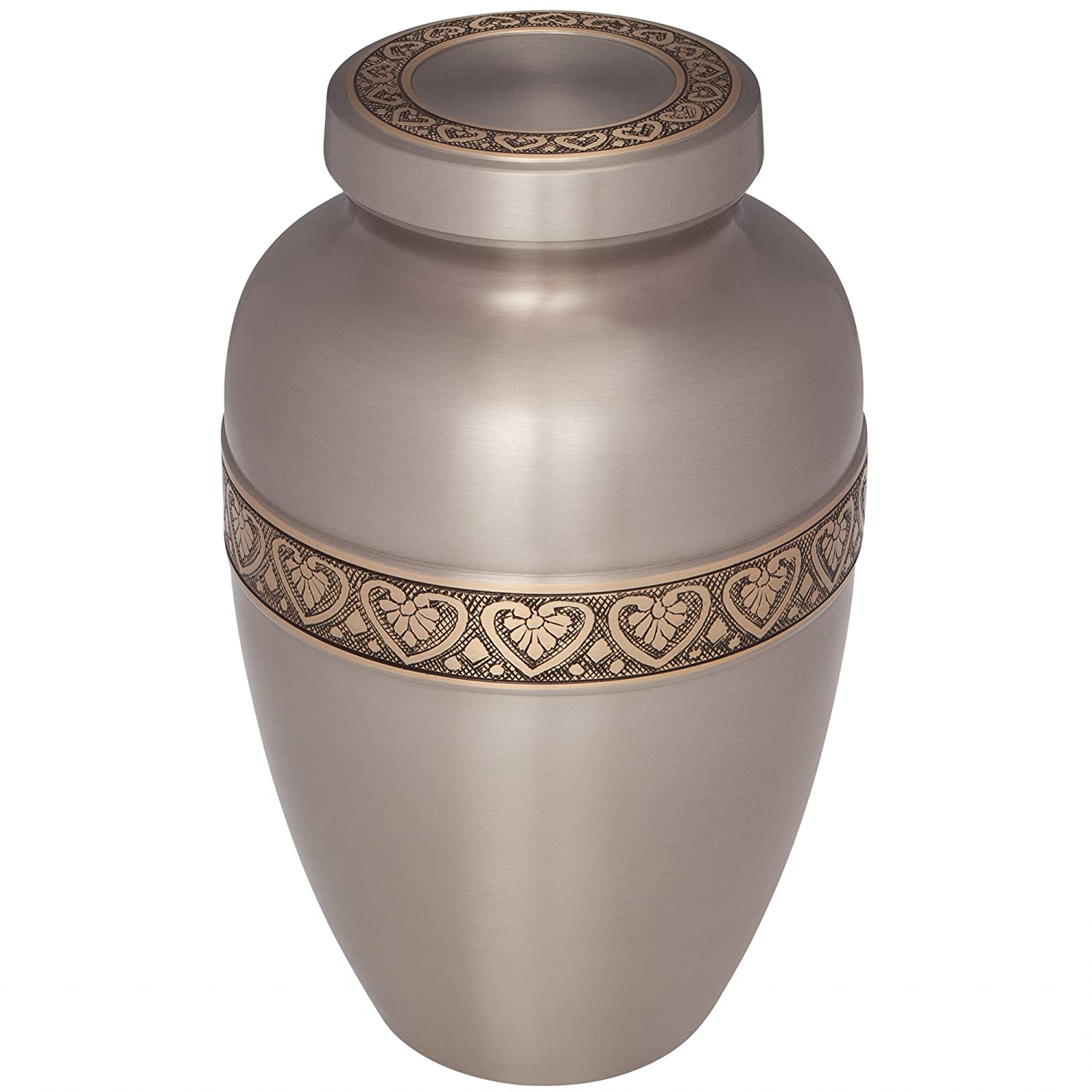 Suitable for Cemetery Burial or Niche Large Size fits remains of Adults up to 200 lbs Hand Made in Brass Silver Funeral Urn by Liliane Memorials Cremation Urn for Human Ashes Coeur Model