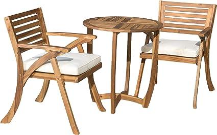 Amazon Com Christopher Knight Home Coronado Acacia Wood Bistro Set 3 Pcs Set Teak Finish Garden Outdoor