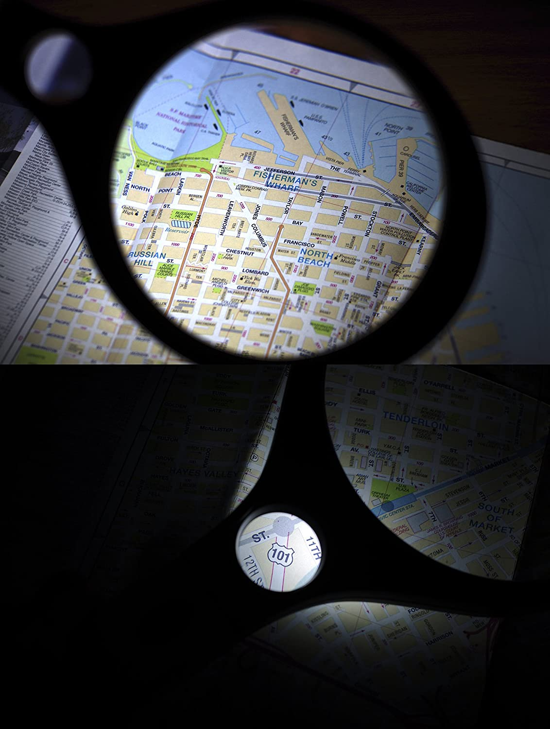Coins Map IMZ Jumbo Magnifying Glass Insects Currency Detecting Racket Style for Senior Reading Book 3X Lens 10X Zoom 5.5-Inch Extra Large Lighted Magnifier Inspection
