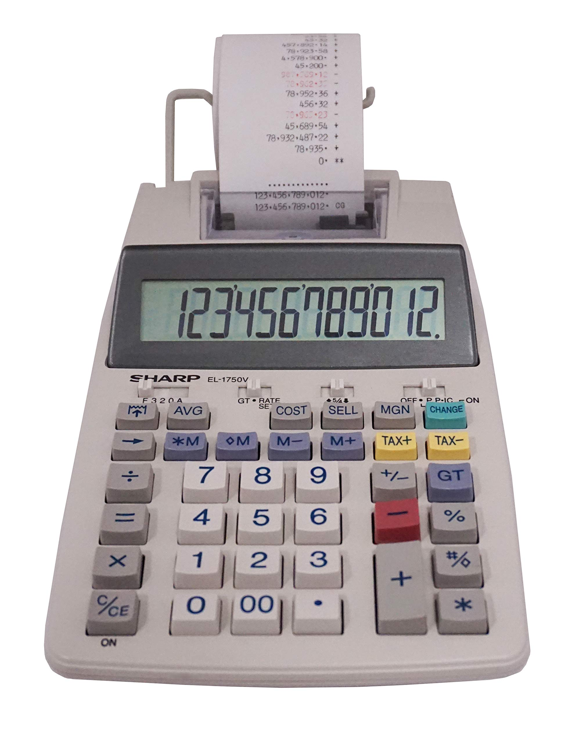 Sharp EL-1750V Two-Color Printing Calculator 2 Lines/Sec 3'' Black/Red by Sharp
