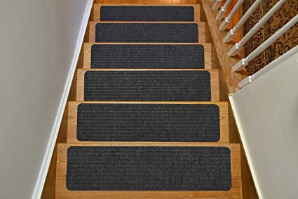 Stair Treads Collection Indoor Skid Slip Resistant Carpet Stair Tread Treads  (Dark Grey, Set
