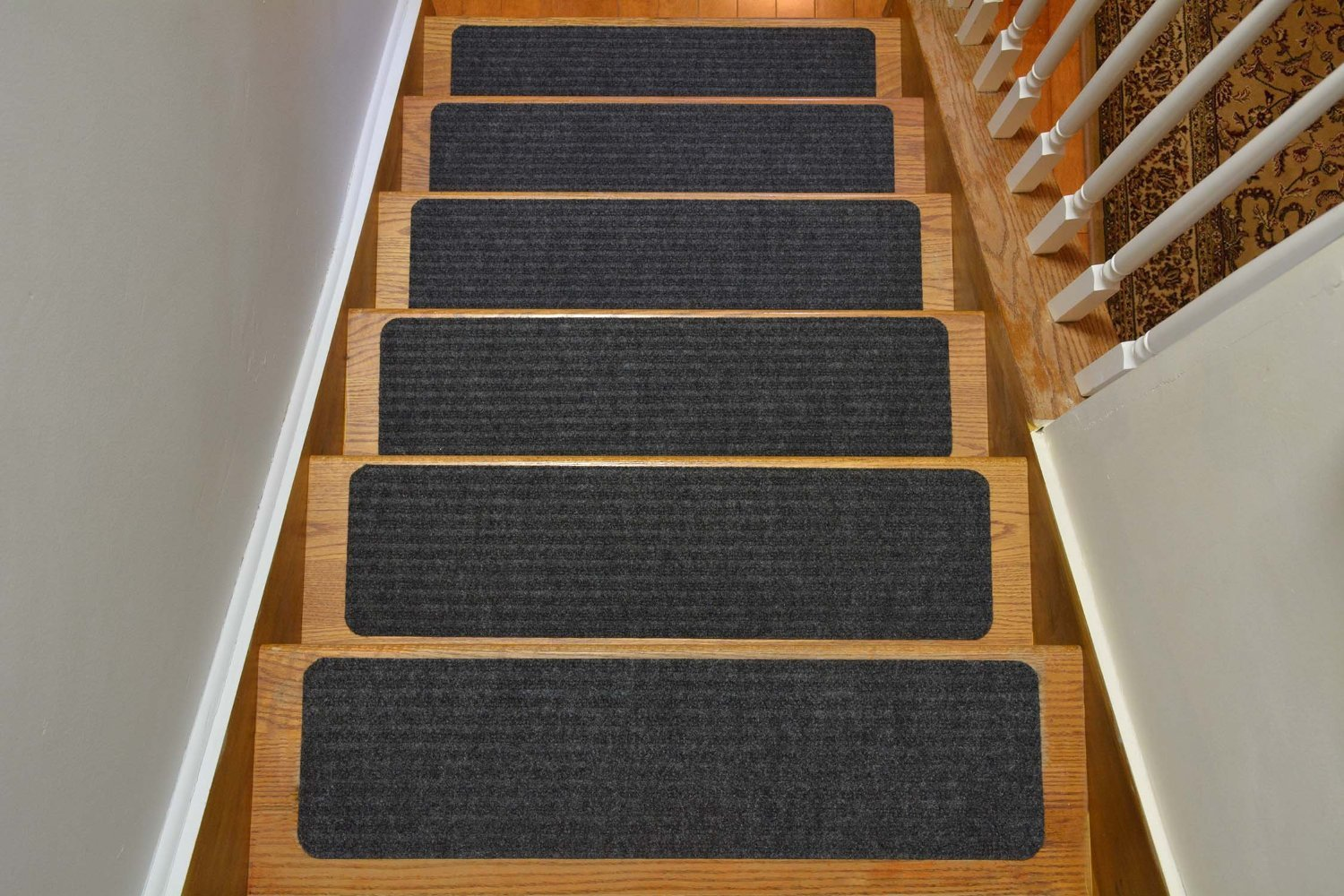 Stair Treads Collection Indoor Skid Slip Resistant Carpet Stair Tread Treads (Dark Grey, Set of 13 (8 in x 30 in)) by RugStylesOnline (Image #1)