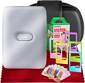 Fujifilm Instax Mini Link Smartphone Printer (Ash White) + Case, Instax Mini Twin Film (20 Exposures), Colorful Frames with Hanging Clips, Funky Frames & Fibertique Microfiber Cleaning Cloth