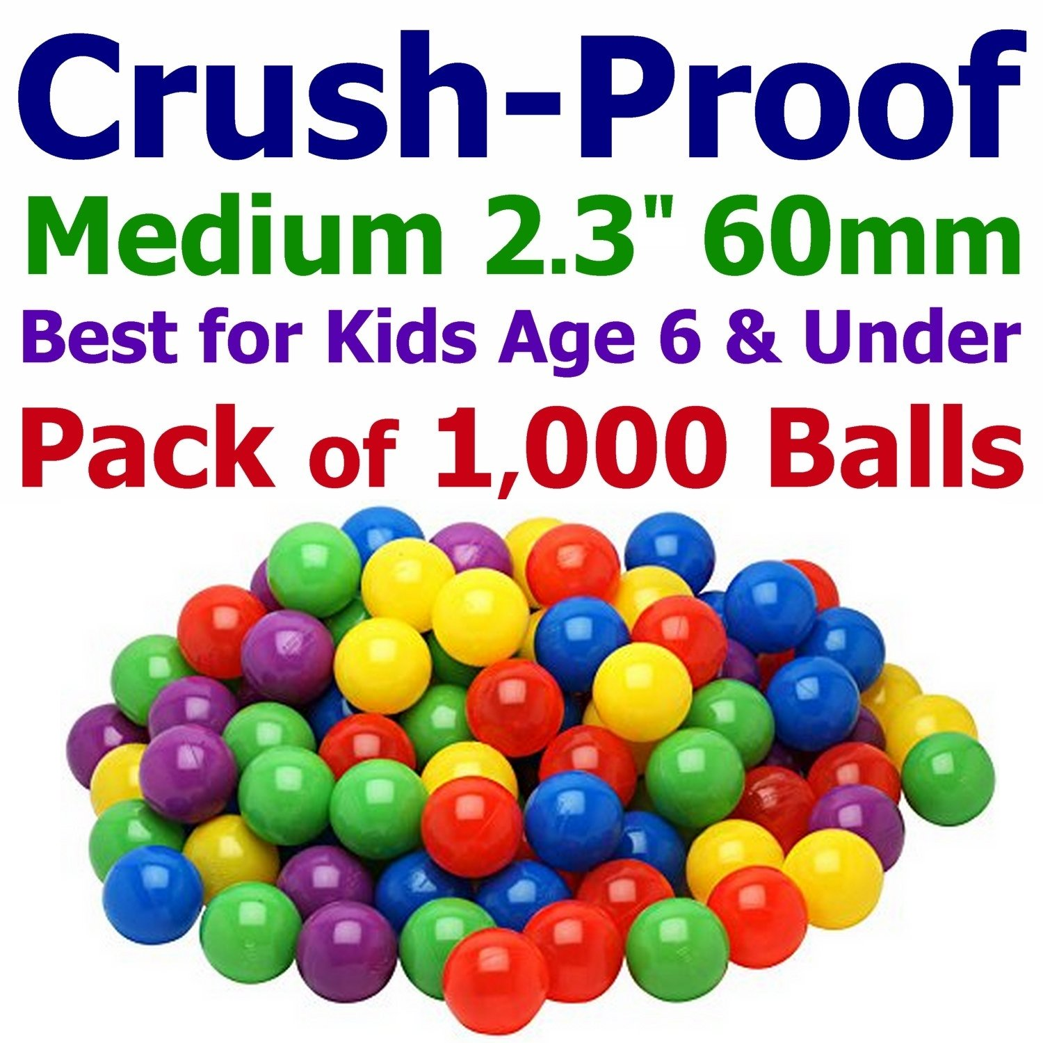 My Balls 400 Medium Size Ball Pit Balls - 5 Bright Colors; 2.3' 60mm, Crush-Proof Air-Filled; Phthalate Free; BPA Free; Non-Toxic; Non-PVC; Non-Recycled Plastic Same Size as Click N' Play Balls CMS