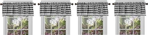 Achim Home Furnishings BCVL14BW12, Black White Buffalo Check Window Curtain Valance, 58 x 14 1, F ur k