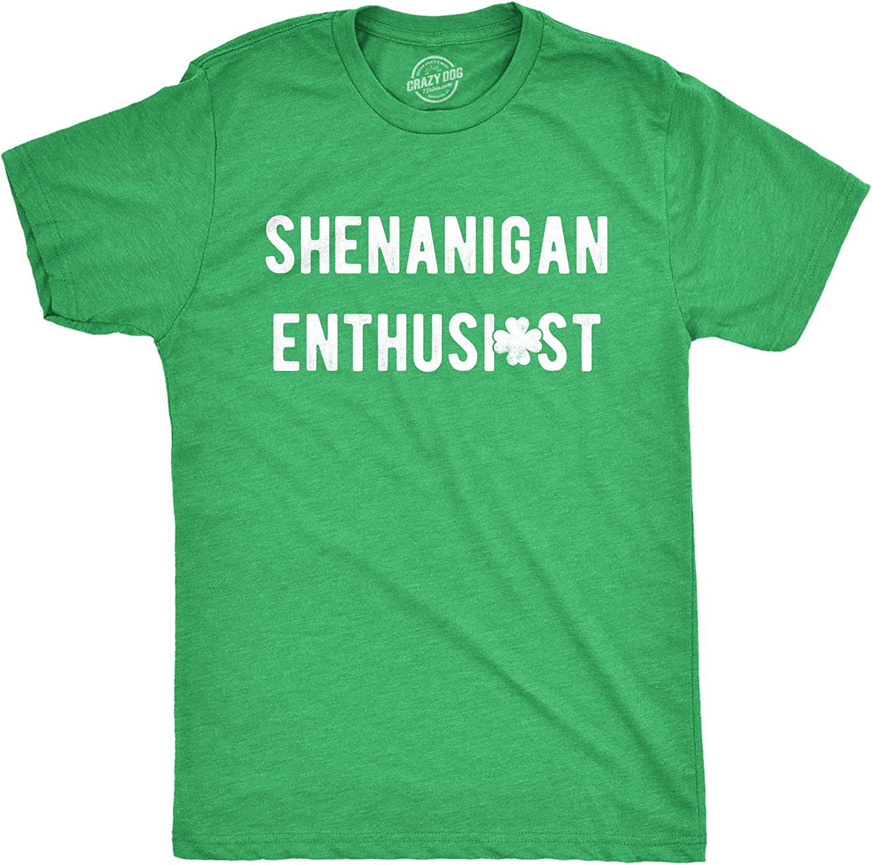 Shamrocks and Shenanigans St Patricks Day Funny Joke Saying Parade Mens Tee