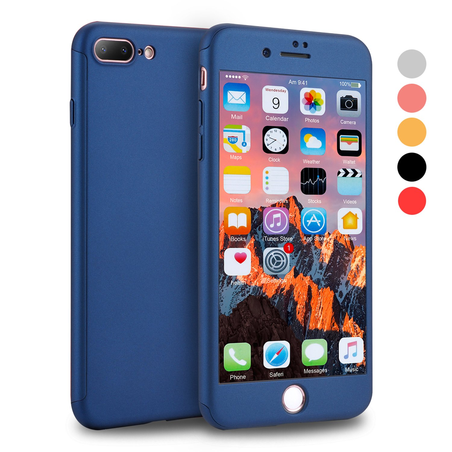iPhone 7 Plus Case, VANSIN 360 Full Body Protection Hard Slim Case Coated Non Slip Matte Surface with Tempered Glass Screen Protector for Apple iPhone 7 Plus (5.5-inch) - Navy Blue