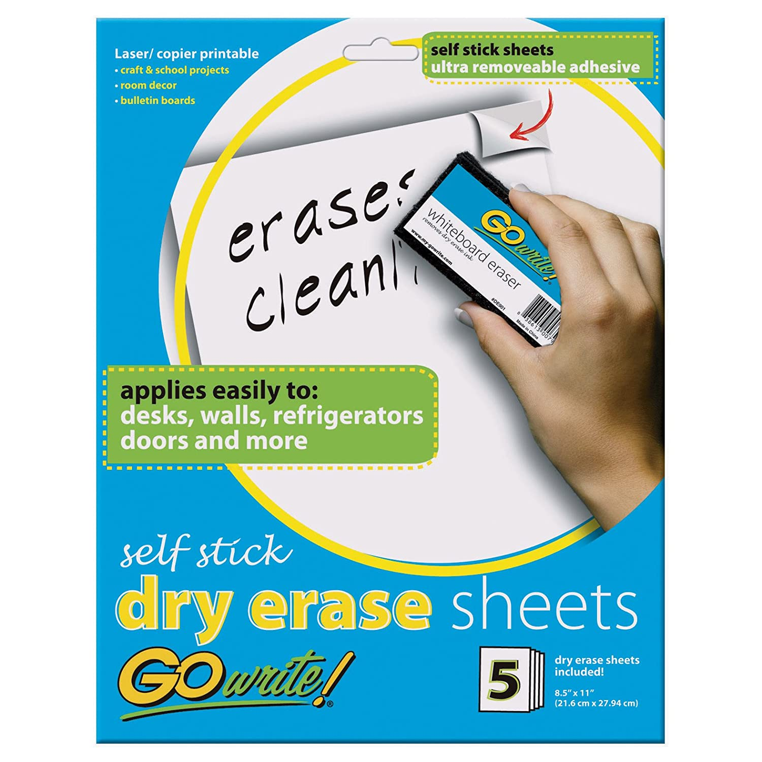 "GoWrite! Dry Erase Sheets, Self-Adhesive, 8-1/2"" x 11"", White, 5 Sheets"