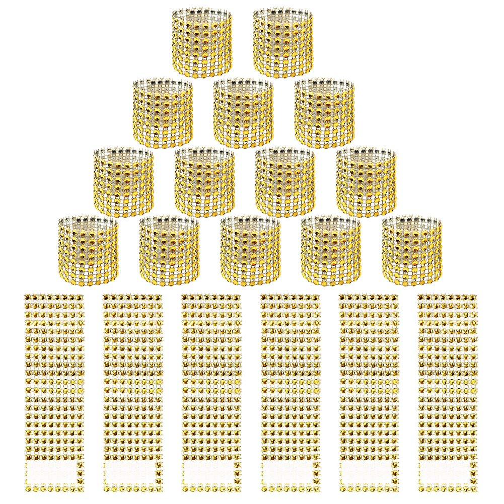 Hangnuo 120 PCS Rhinestone Gold Napkin Rings for Wedding Reception Baby Shower Party Decoration - Sparkling Bows for Napkins, Chair Sash, Tablecloth, Curtain