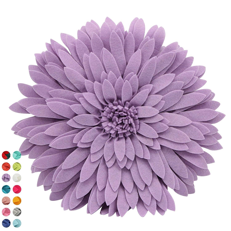 Flower Decorative Pillow - 3D Daisy Flower Pillow, Sunflower Throw Pillow -14.5 x 13 inch Round Decor Pillow - Flower Home Decorations - Couch & Bed Flower-Shaped Pillow (Case + Insert, Solid Liliac)