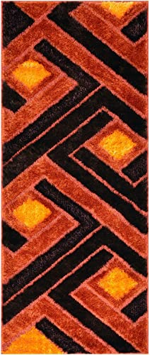 Royal Collection Orange Brown Contemporary Design Shaggy Area Rug 6017 3'3″x7'