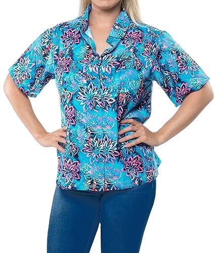 Ropa de Playa blusa de la camisa hawaiana botón abajo del depósito para cubrir la piel de manga corta azul de las mujeres