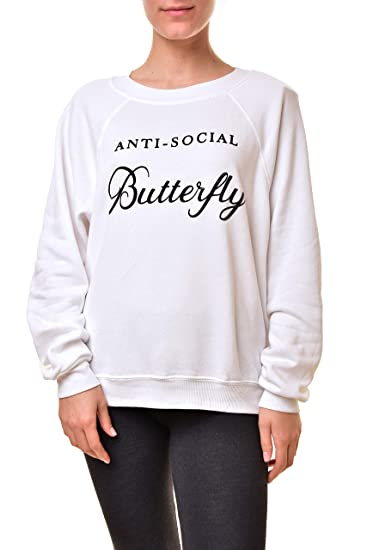 82031009a737 Wildfox Women s  Anti-Social Butterfly  Sweatshirt - White -  Amazon ...