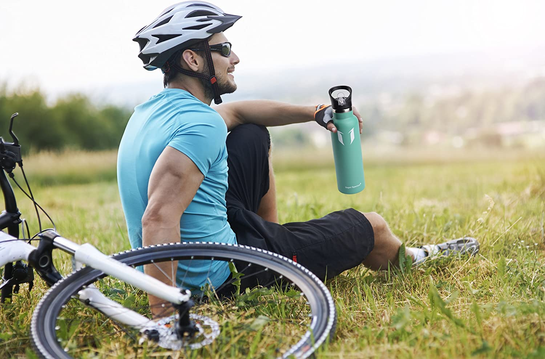 Ciclismo dise/ño de Pared Doble Super Sparrow Botella de Agua aislada al vac/ío de Acero Inoxidable Gimnasio Yoga para Correr 1000ml Sin BPA Gorra Deportiva con Gorra est/ándar