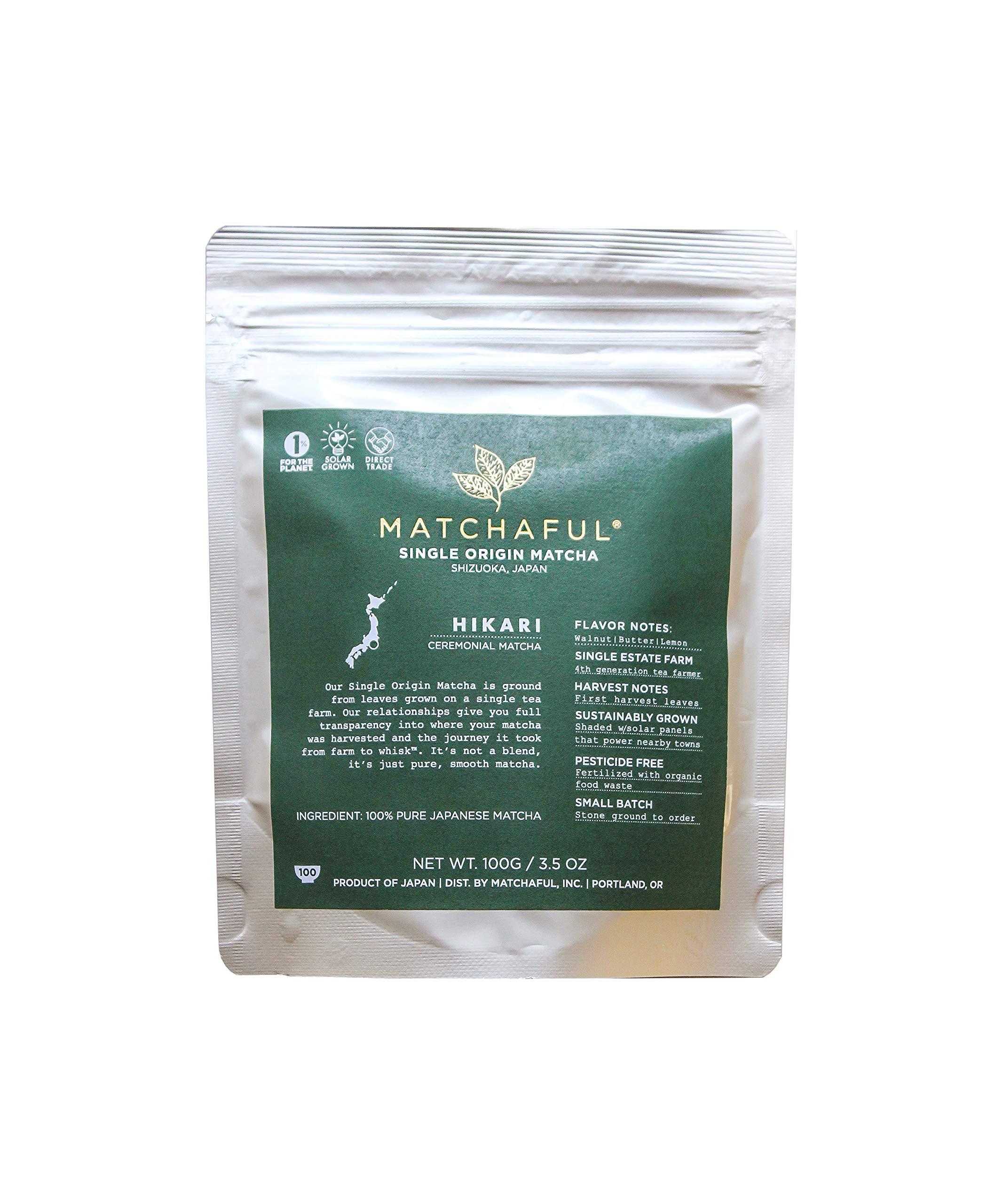 MATCHAFUL Hikari Single Origin Organic Ceremonial Matcha, 100 Gram