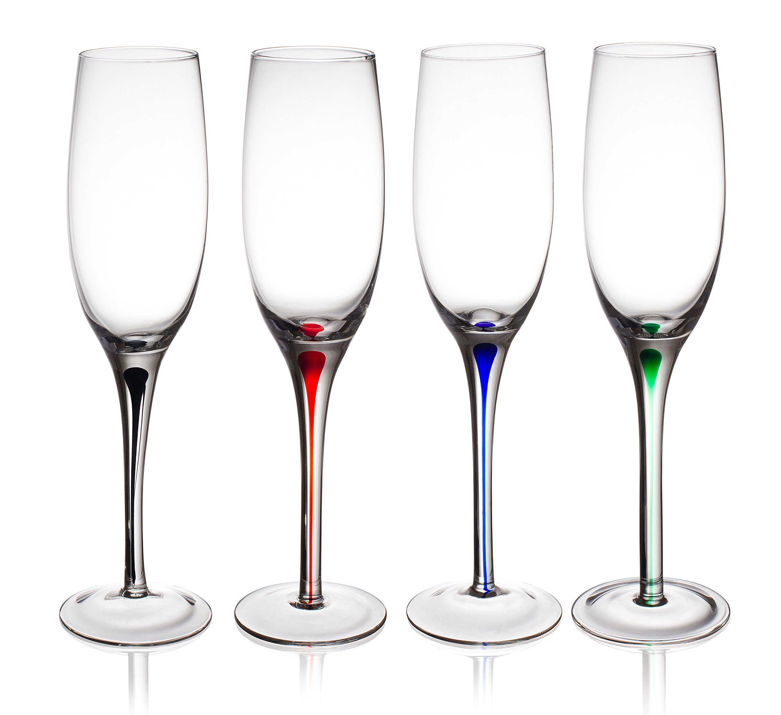Trinkware Set of 4 Champagne Flutes With Raindrop Stem in Red, Green, Blue And Black - Long Stem Glasses, 9oz, 10-inches Tall – Elegant Glassware And Stemware