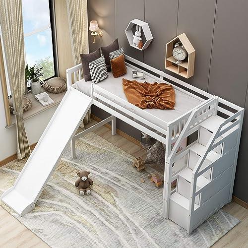 Wood Stairway Bunk Bed