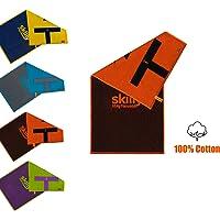 skilly RetroFIT Fitnesshandtuch   Antirutschfunktion   100X50cm   Gym Handtuch zweifarbig   Sporthandtuch aus 100% Baumwolle