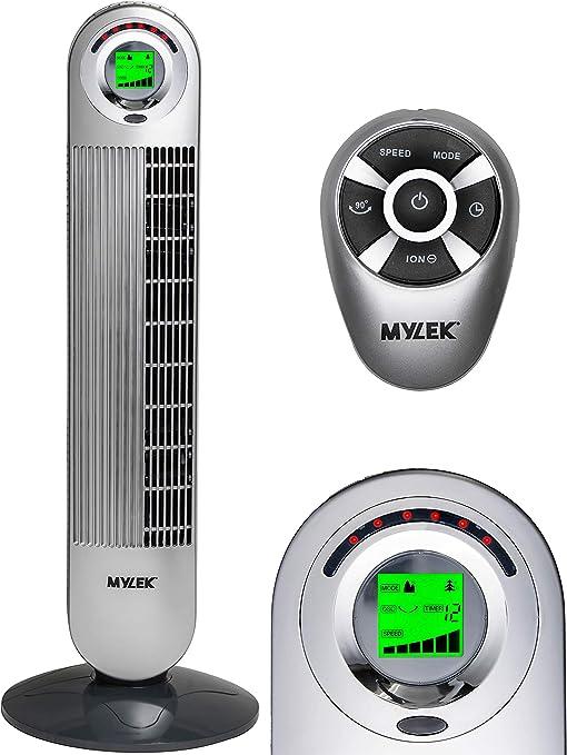 Mylek Cyclops Ventilador de torre oscilante con control remoto de ...