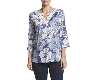 Alfred Dunner Floral Print Tunic Top Purple 18