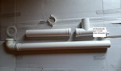Humo Tubo Set 80 mm blanco con abrazadera de tubo y roseta