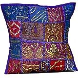 lot de 2 broderie ethnique paillettes patchwork couvre lit indian sari taie d 39 oreiller housses. Black Bedroom Furniture Sets. Home Design Ideas